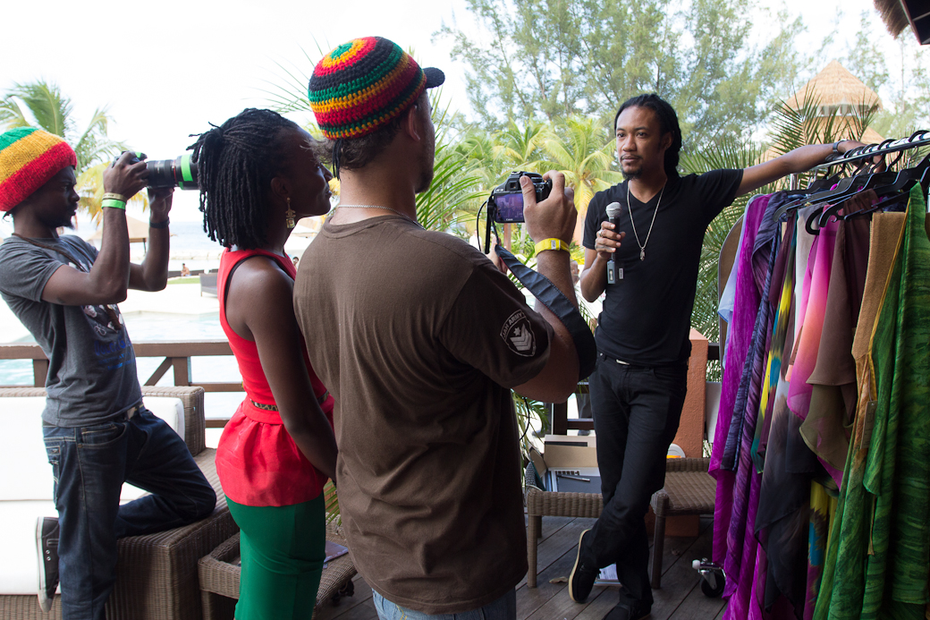 NOV 2012: Ayoung-Julien is interviewed for Ocean Style TV at the 2012 Ocean Style FashionShowcase. Photo courtesy Mark Gellineau.