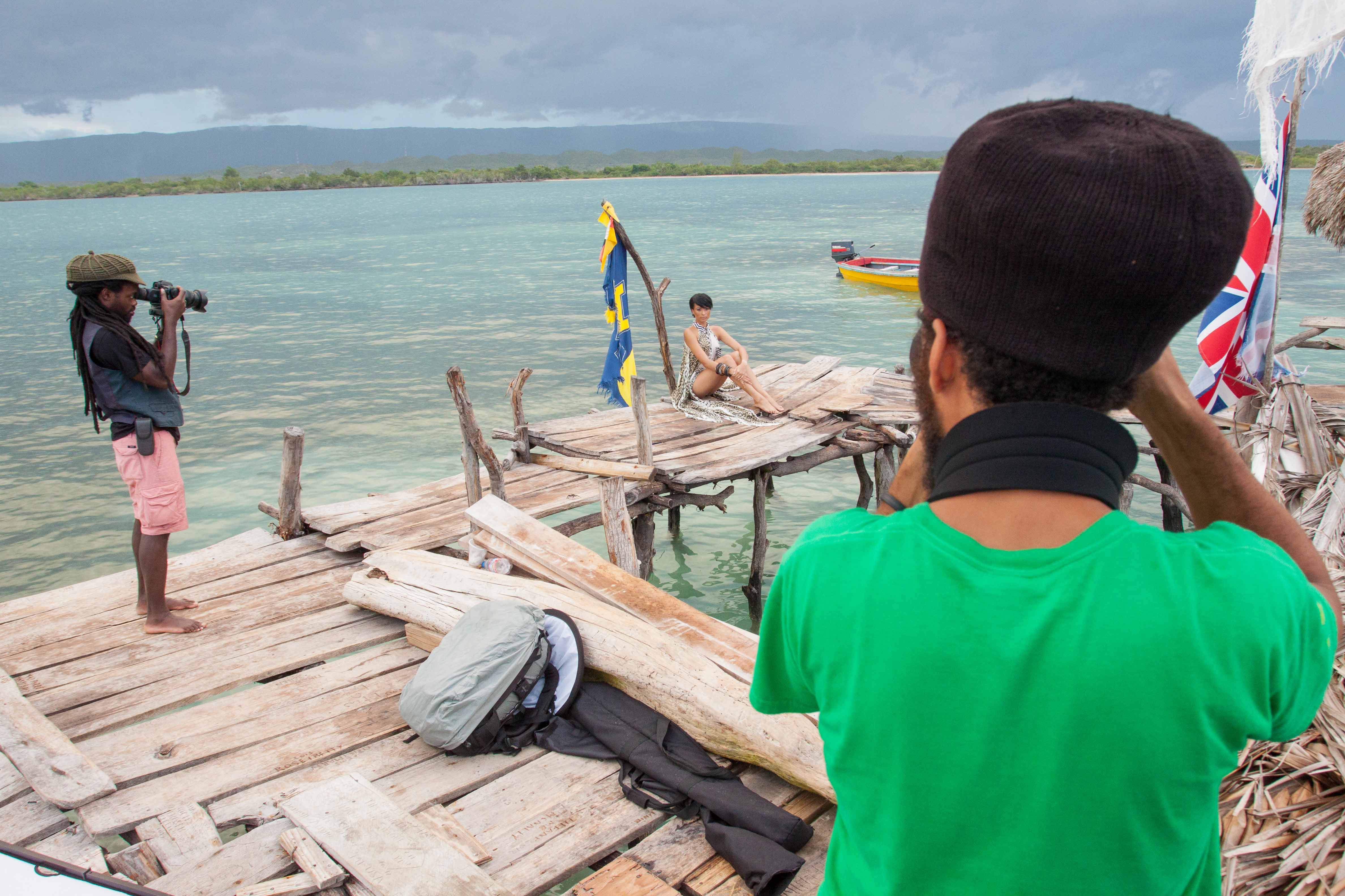 Behind the scenes of the Kaj Resort 13/14 fashion shoot on location at Pelican Bar on Treasure Beach, Jamaica. Photo courtesy Mark Gellineau.