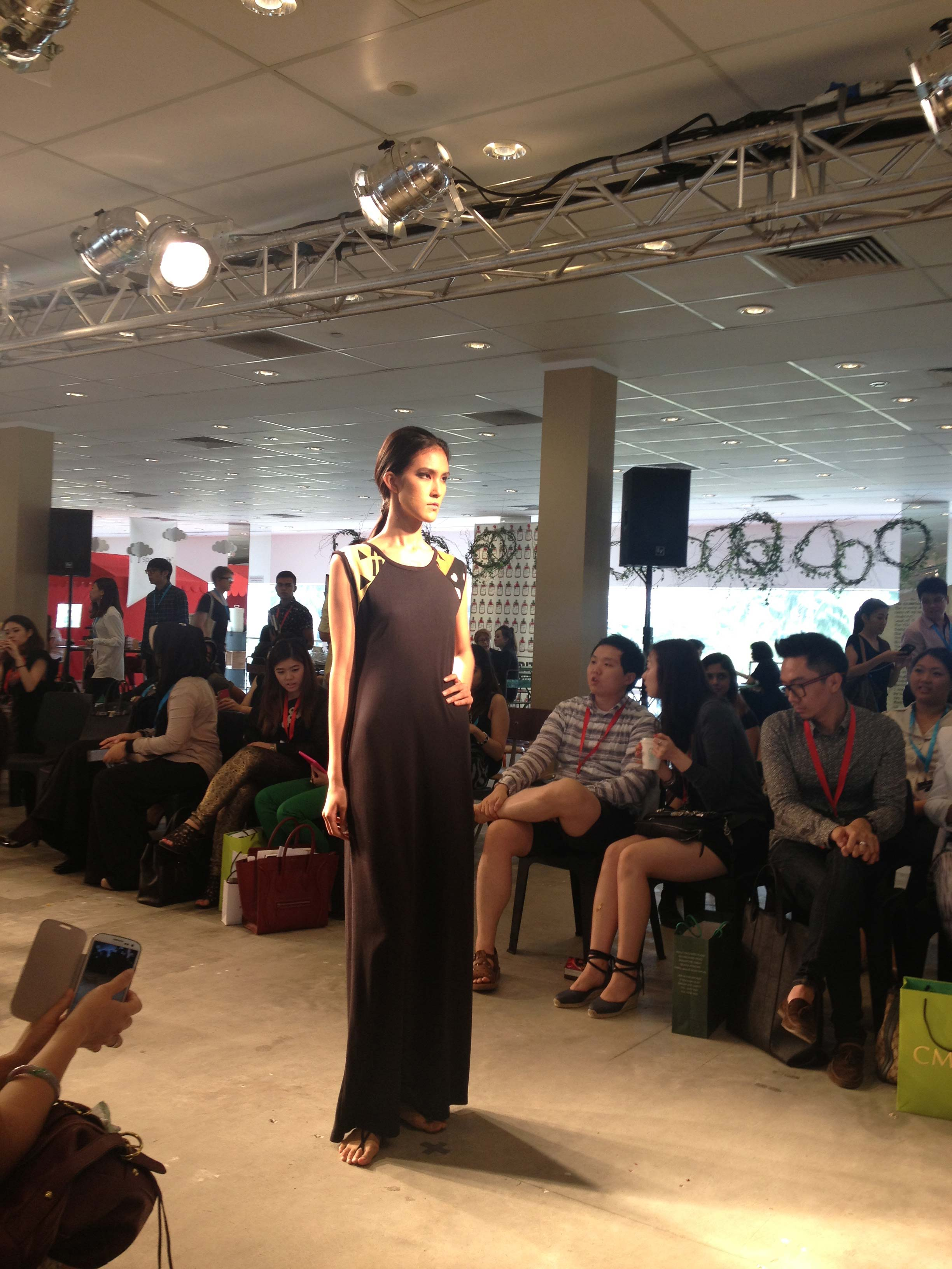 Tribu Sauvage makes its runway debut at BLUEPRINT during Singapore's fashion week, Asia Fashion Exchange (AFX). Sleeveless raglan maxi dress.