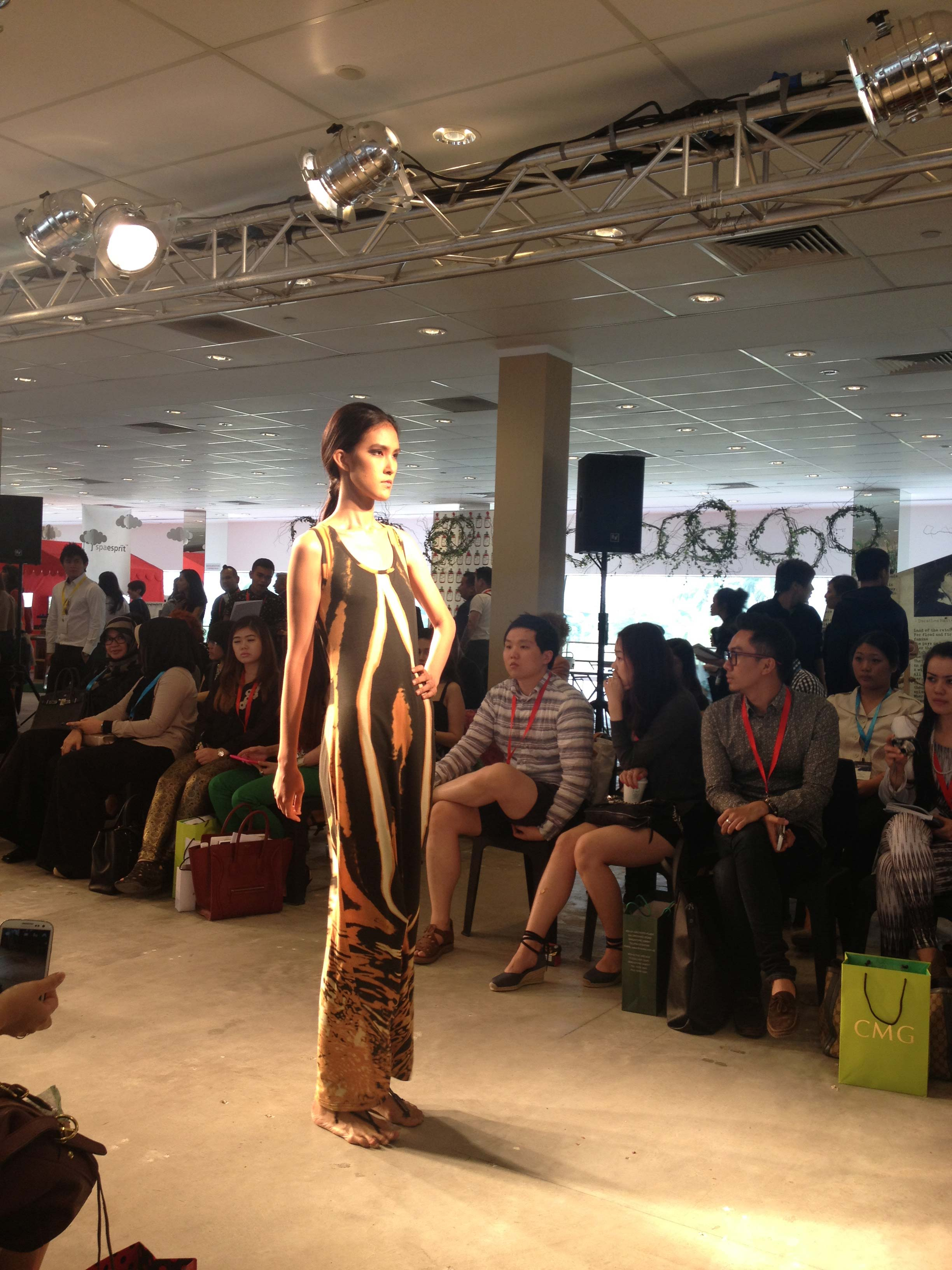 Tribu Sauvage makes its runway debut at BLUEPRINT during Singapore's fashion week, Asia Fashion Exchange (AFX). Fertility tank dress.