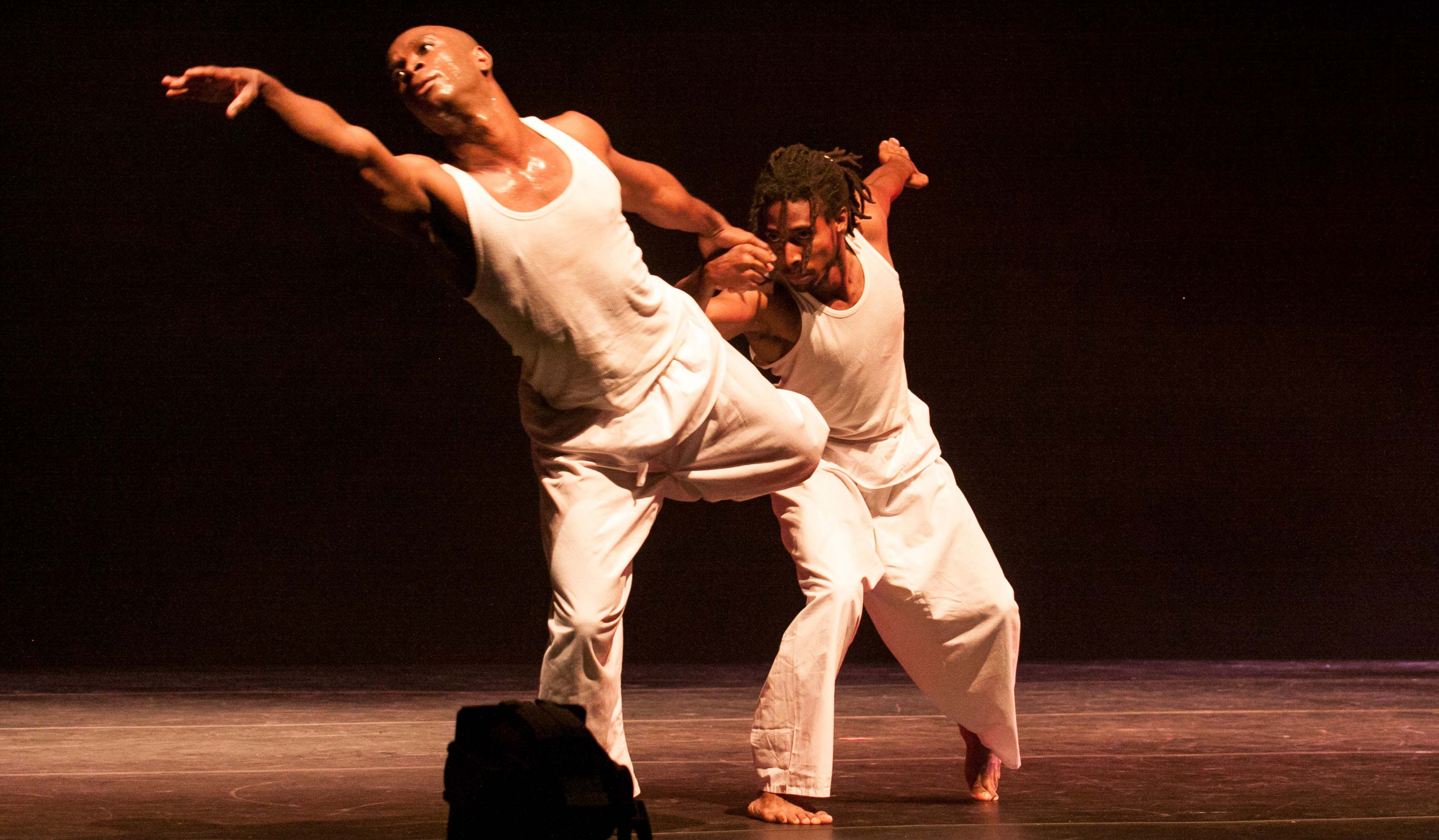 Leading male dancers, Kevin Jack and Kwasi Romero, perform Allan Balfour's piece, Ties, during NDDCI's 2012 dance season, Transition. Photo courtesy Mark Gellineau for the NDDCI.