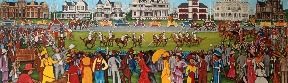 Painting of a 1910 polo match by artist, Adrian Camps-Campin, features Hayes Court in its glory along with the other Magnificent Seven Monuments.