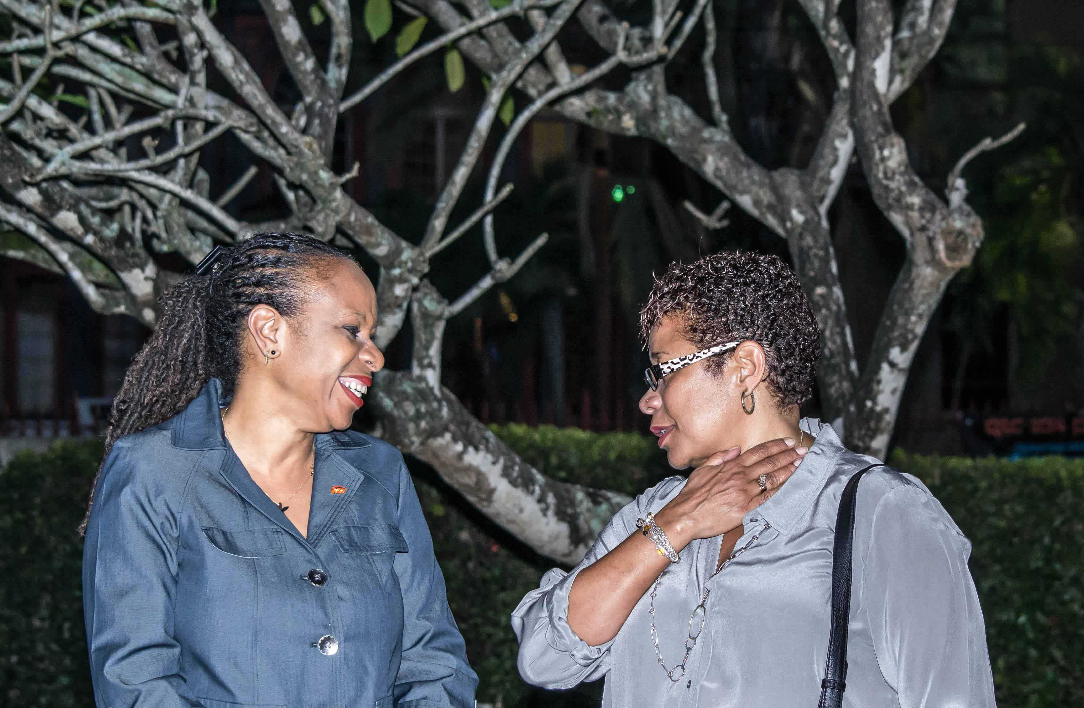 CEO and Managing Director of the Trinidad and Tobago Mortgage Finance Company, Ingrid Lashley (left), and Group General Counsel/Corporate Secretary of the Republic Bank, Jacqueline Quamina (right), share a laugh at the launch.