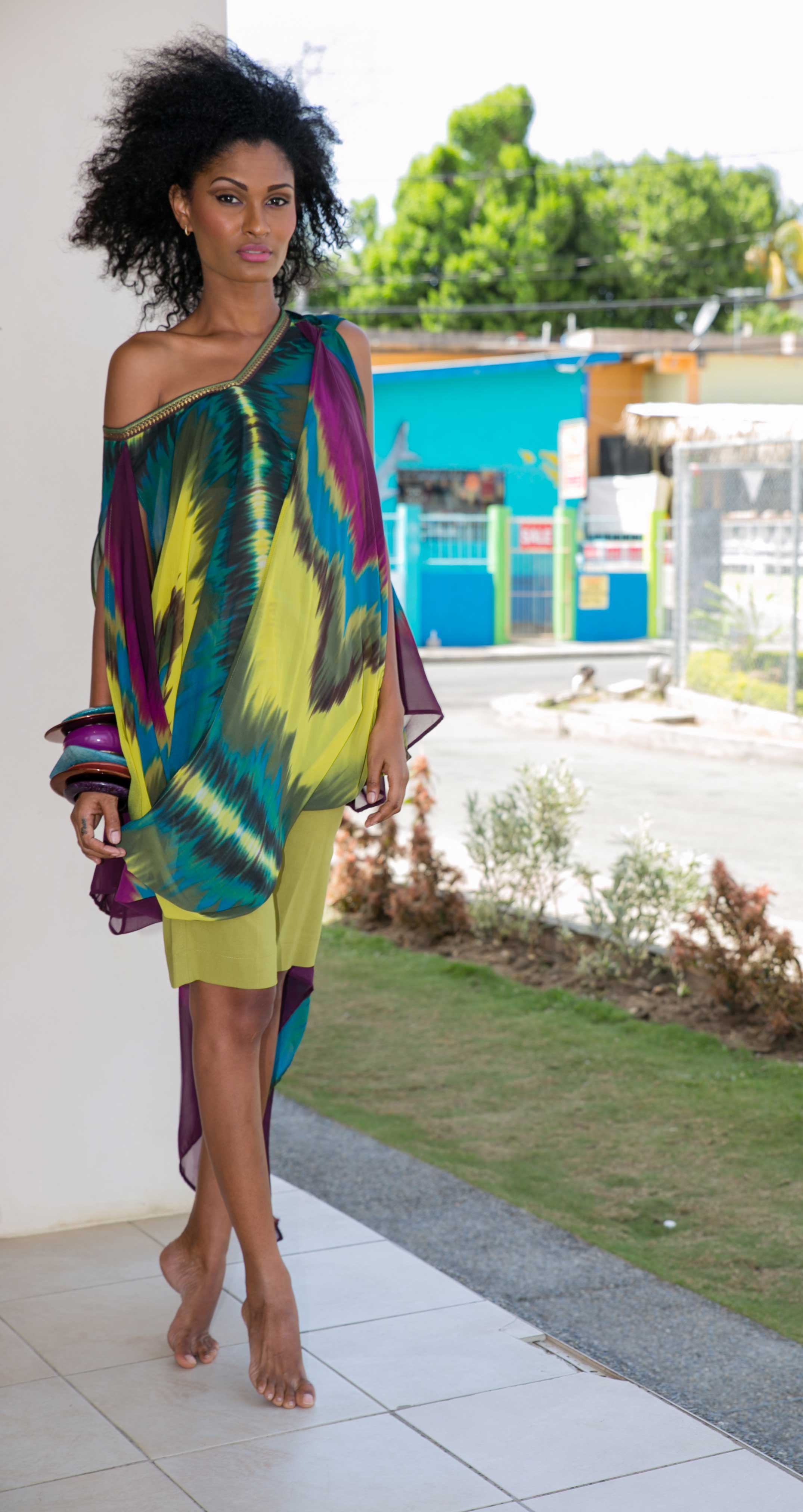 Folded envelope tunic and Bermuda shorts from the 2010 Kaj Resort collection, Shore Culture.