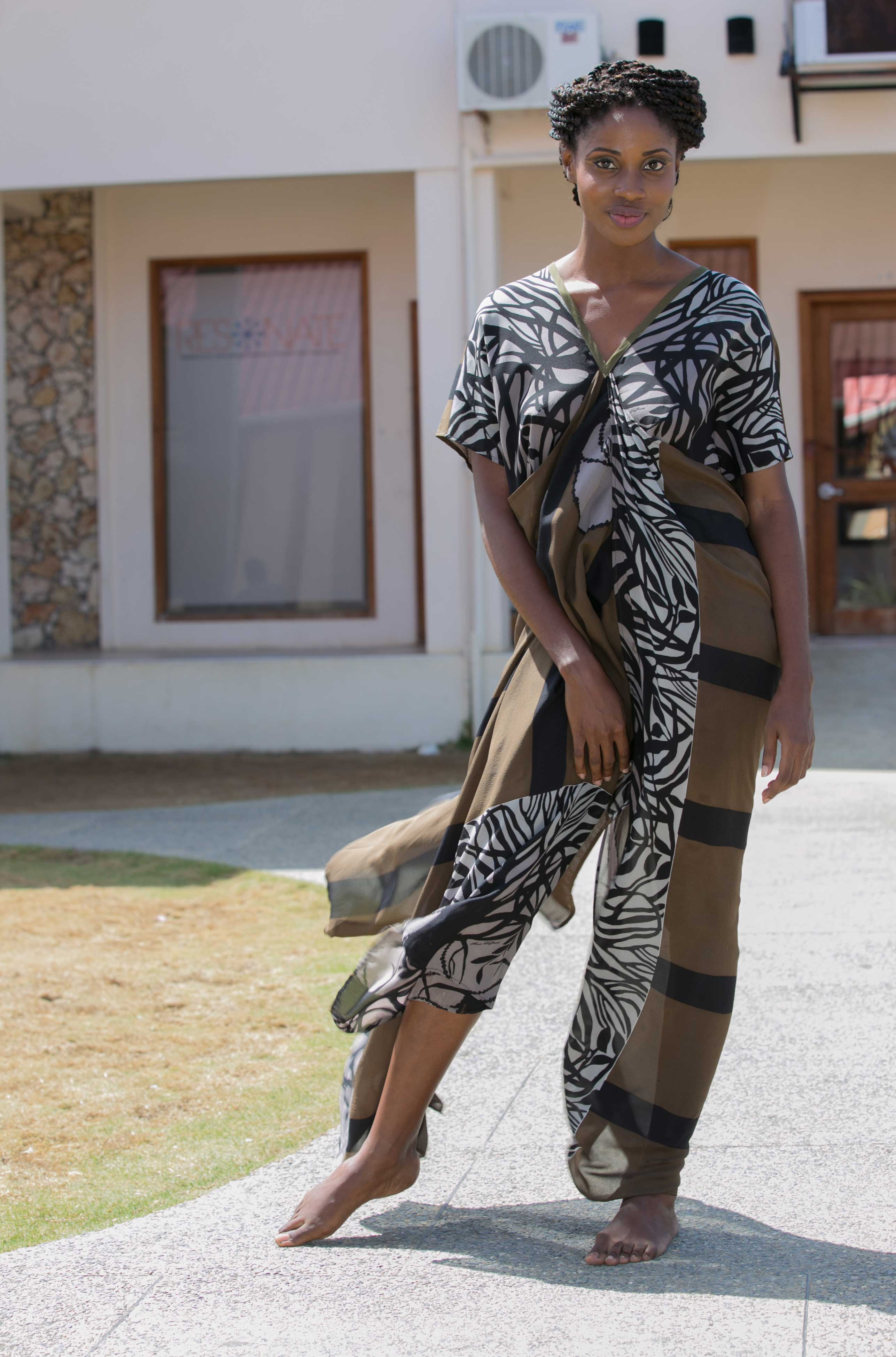Silk kaftan from the 2014 Kaj Resort collection, Tribu Sauavge. Makeup by Lyndy-Anne Parks of Gloss Productions.